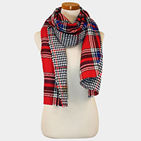 Checkered Reversible Oblong Scarf