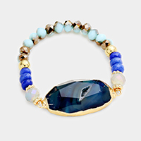 Beaded Glass Stone Accented Stretch Bracelet
