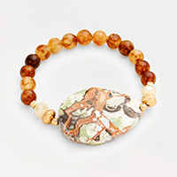 Beaded Marbled Bead Accented Stretch Bracelet
