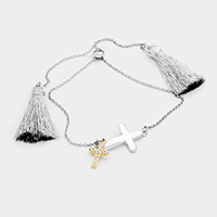 Rhinestone Metal Cross Double Tassel Bracelet