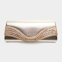 Wavy Crystal Rhinestone Evening Clutch Bag