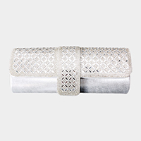 Latticed Crystal Rhinestone Evening Clutch Bag