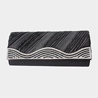 Wavy Crystal Rhinestone Pleated Evening Clutch Bag
