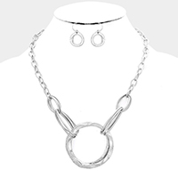 Metal Multi Hoop Link Necklace