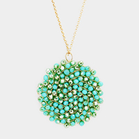 Glass Beaded Disc Pendant Long Necklace
