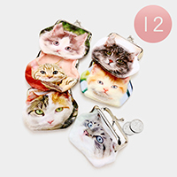 12PCS Printed Cat Coin Clasp Purses