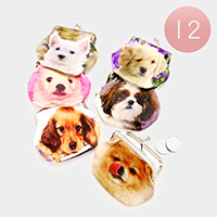 12PCS Printed Dog Coin Clasp Purses