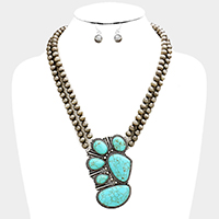 Metal Ball Beaded Turquoise Necklace