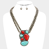 Metal Ball Beaded Red Coral Turquoise Necklace