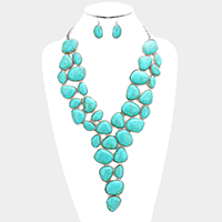 Multi Turquoise Cluster Statement Bib Necklace