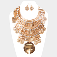 Oversized Layered Chain Metal Disc Statement Bib Necklace