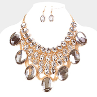 Oversized Oval Glass Stone Cluster Draped Chain Statement Necklace