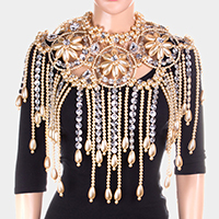 Oversized Floral Pearl Armor Bib Body Chain Necklace