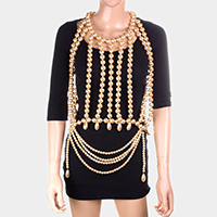 Oversized Draped Pearl Neck Top Body Chain Necklace