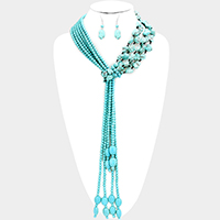 Multi Strand Knotted Turquoise Y Shaped Necklace