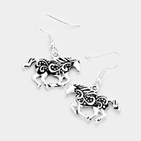 Antique Embossed Running Horse Dangle Earrings