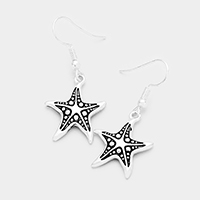 Antique Embossed Starfish Dangle Earrings