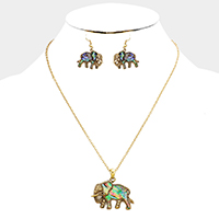 Antique Abalone Elephant Pendant Necklace