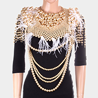Oversized Draped Pearl Feather Armor Body Chain Necklace