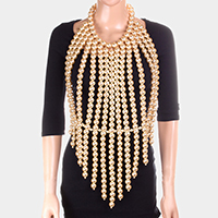 Oversized Pearl Fringe Neck Top Body Chain Necklace