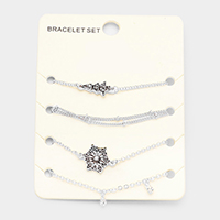 4PCS Mixed Antique Tree Snowflake Charms Bracelet Set