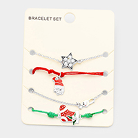 4PCS Mixed Santa Star Rudolph Star Charms Bracelet Set