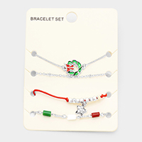 4PCS Mixed  Christmas Wreath Star Charms Bracelet Set