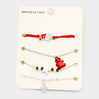4PCS Mixed Santa Star Bear Charms Bracelet Set