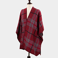 Plaid Check Cape Poncho
