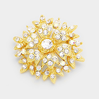 Marquise Crystal Glass Flower Brooch / Pendant