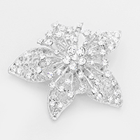 Marquise Glass Crystal Flower Brooch