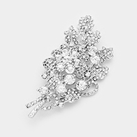 Floral Glass Crystal Leaf Marquise Brooch
