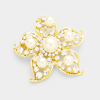 Marquise Glass Crystal Accented Pearl Flower Brooch
