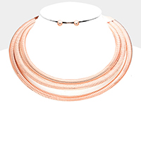 3Rows Metal Chain Collar Choker Necklace