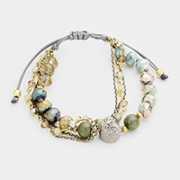Multi Glass Beaded Accented Genuine Druzy Bracelet