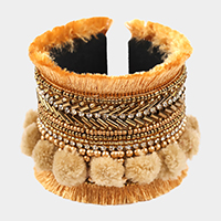 Multi Beaded Accented Pom Pom Thread Fringe Cuff Bracelet