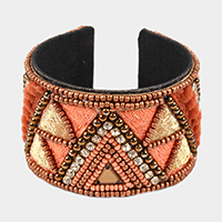 Embroidery Multi Beaded Cuff Bracelet