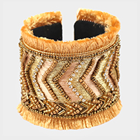 Embroidery Multi Beaded Thread Fringe Cuff Bracelet