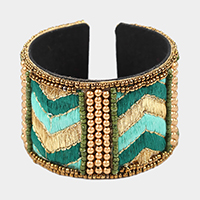 Multi Beaded Embroidery Chevron Patterned Cuff Bracelet