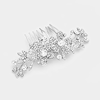 Pave Crystal Rhinestone Double Flower Hair Comb
