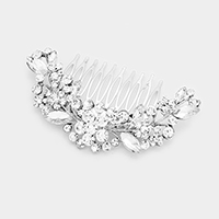 Glass Crystal Triple Flower Hair Comb