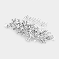 Glass Crystal Leaf Cluster Vine Hair Comb