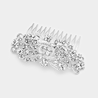 Floral Glass Crystal Leaf Cluster Vine Hair Comb