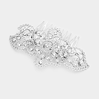 Filigree Glass Crystal Flower Hair Comb