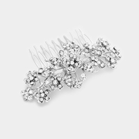Glass Crystal Flower Cluster Hair Comb