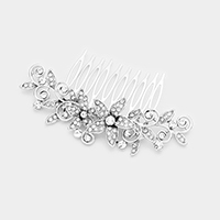 Glass Crystal Double Flower Hair Comb