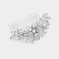 Glass Crystal Flower Hair Comb