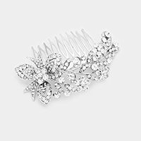 Glass Crystal Flower Leaf Hair Comb