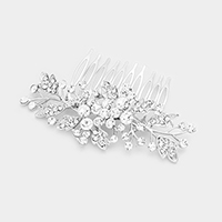 Glass Crystal Flower Leaf Cluster Hair Comb
