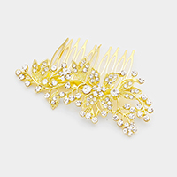 Glass Crystal Leaf Cluster Hair Comb